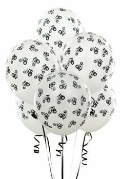 "White with Black Tractors 11 Matte Balloons (6 count) by Party Destination. $2.00. Ideal for a farm animal themed party decoration. Inflatable 11"" balloons. Six white balloons with black tractors. Fun for a theme birthday party. Decorate for a party with these balloons. Includes 6 inflatable balloons"