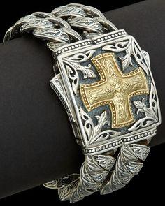 """Scott Kay Men's """"Sparta"""" 18K & Silver Bracelet is on Rue. Shop it now."""