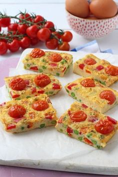 Easy Tomato Frittata Fingers, perfect for a quick and easy kids lunch! From My Fussy Eater Egg Recipes For Kids, Baby Food Recipes, Gourmet Recipes, Healthy Recipes, Food Baby, Sweets Recipes, Veggie Recipes, Frittata, Healthy Meals For Kids