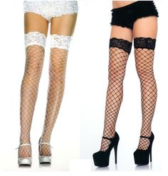 FANCY DRESS ACCESORY # LADIES BLACK FENCE NET STOCKINGS CAMOUFLAGE BOW