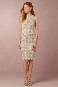 NWT $300 Anthropologie Sara Emanuel BHLDN Myla white lace sheath dress sz 12 L  #Anthropologie #Sheath #Cocktail