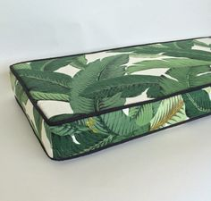 Banana leaf cushion by Tonic Living. Fabric: Swaying Palms by Tommy Bahama.