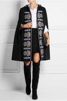 Vilshenko | Rosie hooded embroidered wool-felt cape | NET-A-PORTER.COM