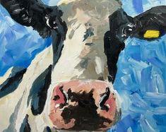 Irish Design farmed in Ireland by IrishFarmArt on Etsy Irish Design, Farm Art, Cow Art, Vintage Art Prints, Beautiful Paintings, Paint Colors, Ireland, Original Art, Oil