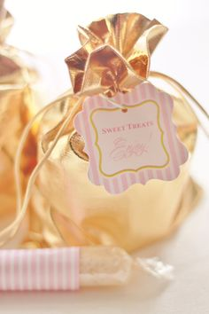 Shiny Gold drawstring Bags for Favors by The Homespun Hostess  { Pink and Gold Party }