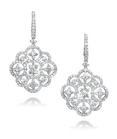 Cellini Jewelers Diamond Open Work Drop Earrings These beautiful open work earrings are set with 3.90 carats of round brilliants. Set in 18 karat white gold.