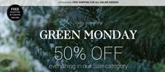 50% off sale category, Free gift w/$100. purchase and free shipping