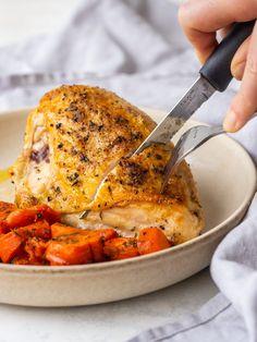 Oven Baked Split Chicken Breast (Bone In) - Crispy Skin + Juicy Inside Whole Chicken Breast Recipe, Chicken Carrots Recipe, Split Chicken Breast, Roasted Chicken Breast, Chicken Breasts, Baked Bone In Chicken, Oven Roasted Whole Chicken, Healthy Baked Chicken, Keto Chicken