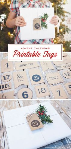 Countdown to Christmas with these free printable Advent Calendar tags. Use these printable Advent Calendar Christmas Countdown Tags to create your own advent calendar or to label packages in your Christmas book countdown. Christmas Countdown, Noel Christmas, Christmas Books, Winter Christmas, Christmas Crafts, Christmas Decorations, Christmas Tables, Nordic Christmas, Modern Christmas