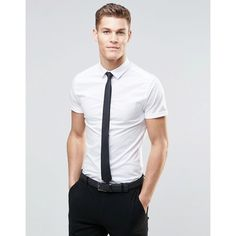 ASOS Skinny Shirt In White With Short Sleeves And Black Tie Pack ($18) ❤ liked on Polyvore featuring men's fashion, men's clothing, men's shirts, men's casual shirts, white, mens casual short-sleeve button-down shirts, mens short sleeve casual shirts, asos mens shirts, mens tie dye shirts and mens stretch shirt