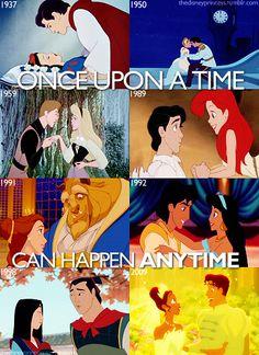 Snow White, Cinderella, Aurora, Ariel, Belle, Aladdin, Mulan, Tiana.