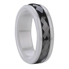 Ceramic Carbide Ring with Black Ceramic Inlay with Polished Bevels - Tungstenjewellry.com