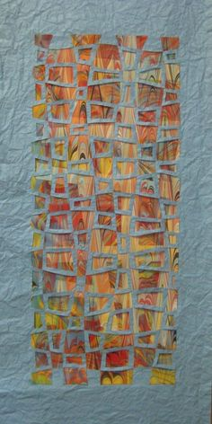 Love this paper weaving by Helen Hiebert. Strips of marbled paper are woven thru a solid top sheet. This would be neat to try with a series of square sheets of handmade paper. Paper Weaving, Weaving Art, Quilt Modernen, Mix Media, Art Plastique, Collage Art, Collages, Fabric Art, Textile Art