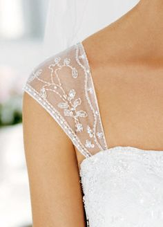 I love that David's bridal will add a cap sleeve to your wedding gown! This one is gorgeous!! #DBBridalStyle