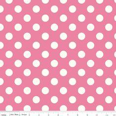 Riley Blake Designs - Le Creme Basics - Medium Cream Dots in Hot Pink