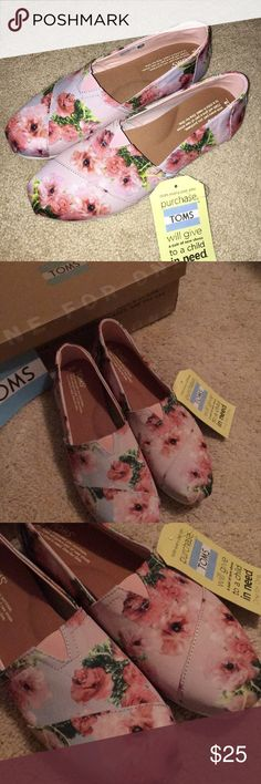 TOMS - NWT and box, size 8 Brand new size 8 TOMS never worn, pattern is pink graphiic floral. Toms Shoes Flats & Loafers