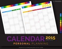 50% OFF 2015 New Year Calendar Wall Calendar Personal Planning  || Printable Digital PDF Planner Organizer Binder PDF Printables