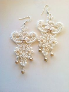 Vintage+Lace+Earrings+with+Pearls+by+StunningByDesign+on+Etsy,+$12.00