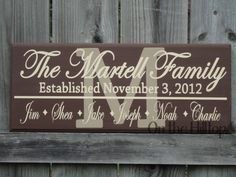 PERSONALIZED Family Initial Sign- Great Gift for that Hard to buy for person. $34.00, via Etsy.