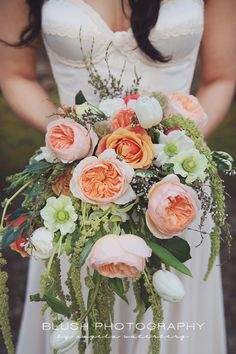 Editorial wedding photography. Whimsical enchanted forest wedding. Flower crown and coral bouquet.  http://www.photosbyblush.com