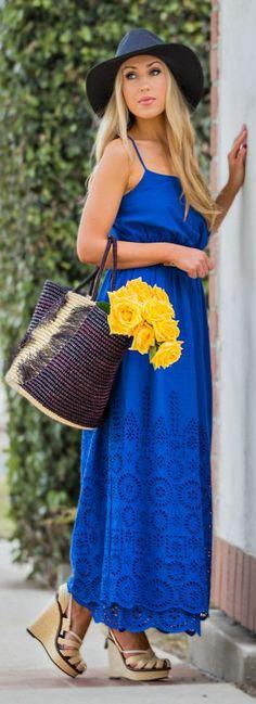 Klein Blue Eyelet Lace Maxi Dress