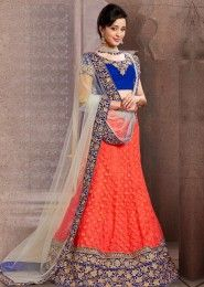 Imperial Orange Net Bridal Wear Lehenga Choli