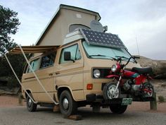 Volkswagen Vanagon Camper - Solar - Satelite - Honda CT70 Mounted On The VW Front - Awesome!