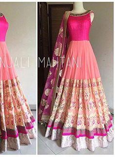 Wedding Peach and Hot Pink Floor Length Anarkali Suit