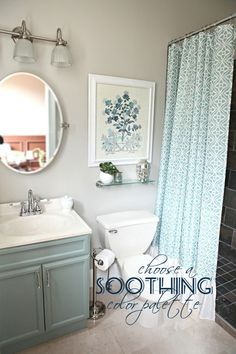 soothing color palette, paint those old nasty bathroom cabinets