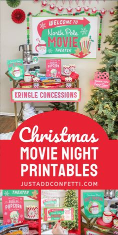 Welcome to North Pole Movie Theater! Full of festive Christmas movie night party ideas, decorations, snacks and printables, this celebration is so much fun! Be sure to check out all of the party printables available in my Just Add Confetti Etsy shop. Also, head to justaddconfetti.com for even more Christmas party ideas and fun holiday foods to celebrate this most wonderful time of year!
