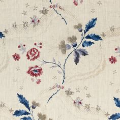 """Sku: 16534-001 Hand Print 100% Linen Color: Red & Indigo Approx Width: 54 1/2"""" Approx Rpt: V. 22 1/8"""", H. 13 1/2 Scalamandre Red and Blue"""
