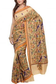 Light Khaki Nakshi Kantha Hand Painted Soft Silk Saree
