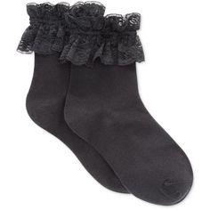 Hue Women's Ruffle Shortie Socks (19 BRL) ❤ liked on Polyvore featuring intimates, hosiery, socks, accessories, black, shoes, lacy socks, ruffle socks, lace ruffle socks and hue hosiery