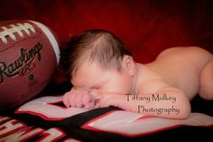 Newborn session. Newborn photos. Baby photos. Football photos.