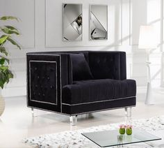 Meridian Lucas Black Velvet Chair - 609Bl-C