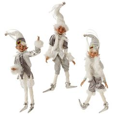 "RAZ Posable Elf Set of 3  Assorted Elves Set includes one of each style White, Silver Made of Polyester Measures 16"" (measured from toes to tip of hat outstretched) For Decorative Use"