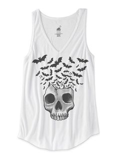 "Women's ""Skull with Bats Flying"" V-Neck Tank by Bat House Design (White) #InkedShop #skull #bats #tank #womenswear"