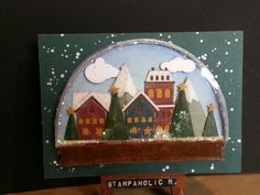 A shaker card I made from Snowglobe thinlits die by Sizzix/Tim Holtz