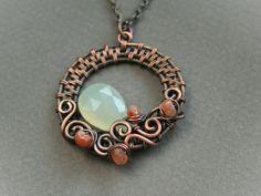 Swirls copper wire woven pendant with green by bodzastudio