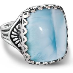 American West 925 Sterling Cushion-Cut Blue Larimar Bold Ring This unique and beautiful ring by American West is a statement piece for your fingers! A substantial cushion shape cabochon of larimar in sea blue sits atop stamped on polished 925 sterling silver in western motifs. This cocktail ring is approximately  inch long by  inch wide and handcrafted in America. The beautiful sea color of this gem that flanked in filigree style of sterling silver will make you wish you were sitting pool…