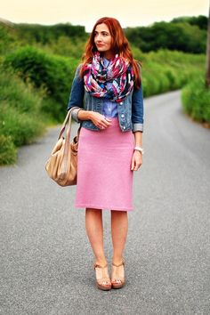 I like the denim with the color. like the scarf and the length of t skirt.