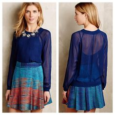 """HP 🍒 Anthropologie Anisy Pullover S Royal blue Anisy pullover by One Fine Day. Sheer rayon knit with pleated detail and 24"""" long. It's structured like a sweatshirt and its machine washable. Worn once and in excellent condition. Anthropologie Tops"""