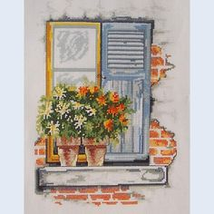 cross stitch pattern - window and flowers