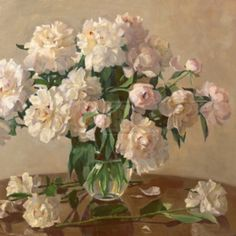 Painting of a White Bouquet Of Roses In A Vase