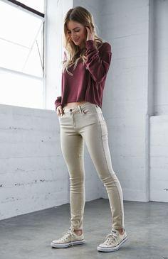 Bullhead Denim Co. Bone Mid Rise Skinny Jeans - Womens Jeans - White