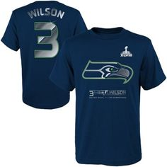Russell Wilson Seattle Seahawks Super Bowl XLVIII Champions Youth Name & Number T-Shirt - College Navy