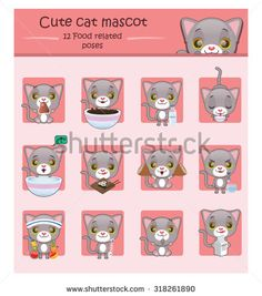 Cute gray cat mascot illustration with 12 food related poses