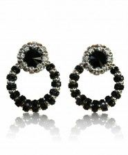 Francoise Montague Black and Silver Small Joyce Earrings