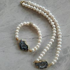 Gold Agate Druzy Electroplated Freshwater Pearl Necklace  And