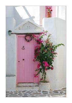 Pink front door, Paros, Greece